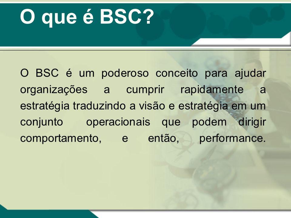 O que é BSC? O BSC é um poderoso conceito para ajudar organizações a cumprir rapidamente a estratégia traduzindo a visão e estratégia em um conjunto o