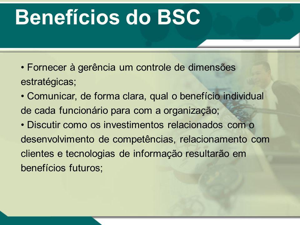 Benefícios do BSC Fornecer à gerência um controle de dimensões estratégicas; Comunicar, de forma clara, qual o benefício individual de cada funcionári