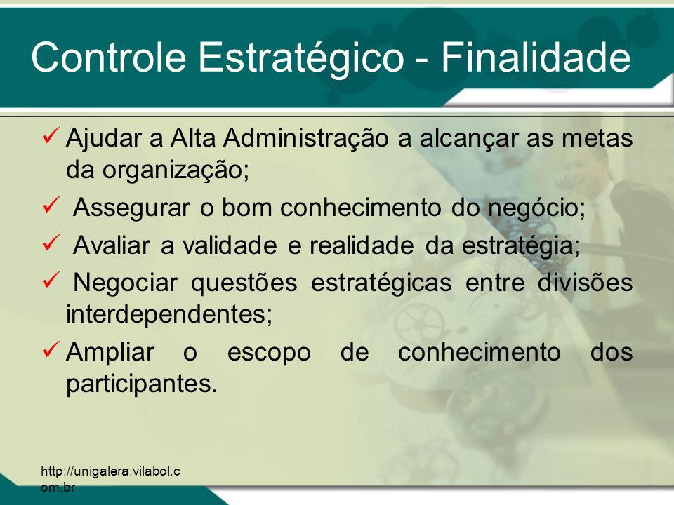 http://unigalera.vilabol.c om.br Controle Estratégico - Finalidade Ajudar a Alta Administração a alcançar as metas da organização; Assegurar o bom con