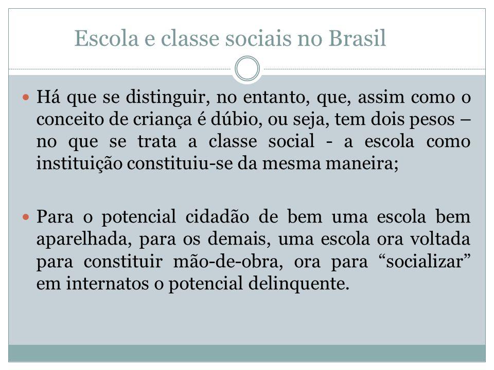 Escola e classe sociais no Brasil Há que se distinguir, no entanto, que, assim como o conceito de criança é dúbio, ou seja, tem dois pesos – no que se