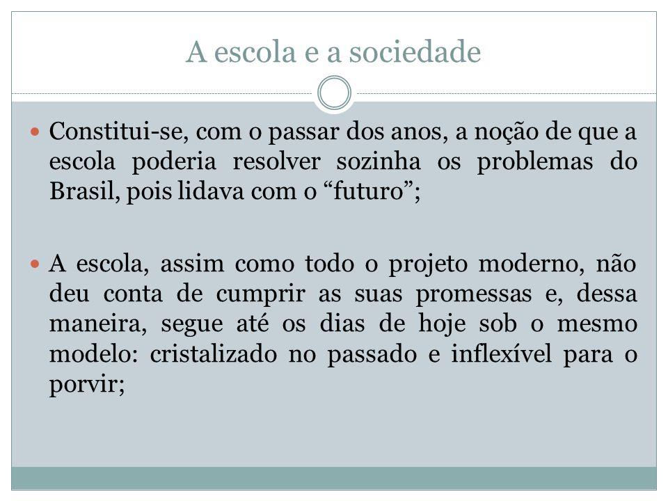 A escola e a sociedade Constitui-se, com o passar dos anos, a noção de que a escola poderia resolver sozinha os problemas do Brasil, pois lidava com o