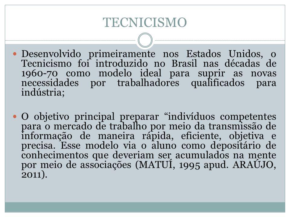 TECNICISMO Desenvolvido primeiramente nos Estados Unidos, o Tecnicismo foi introduzido no Brasil nas décadas de 1960-70 como modelo ideal para suprir