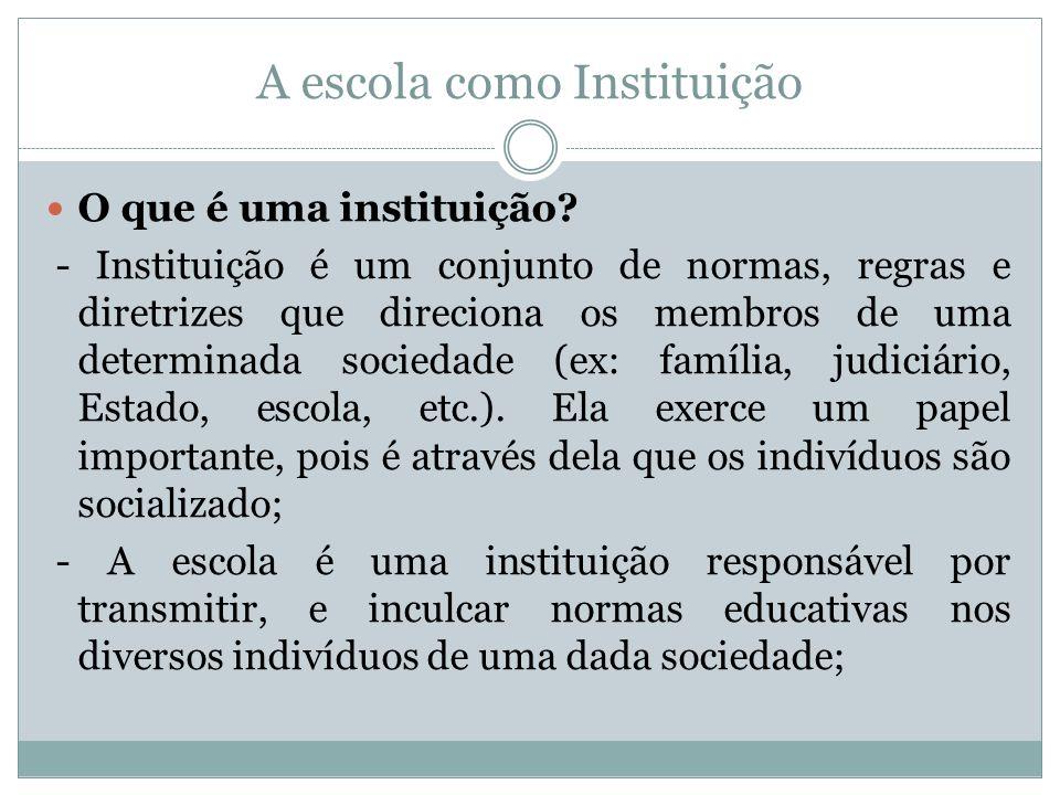 A escola como Instituição O que é uma instituição? - Instituição é um conjunto de normas, regras e diretrizes que direciona os membros de uma determin
