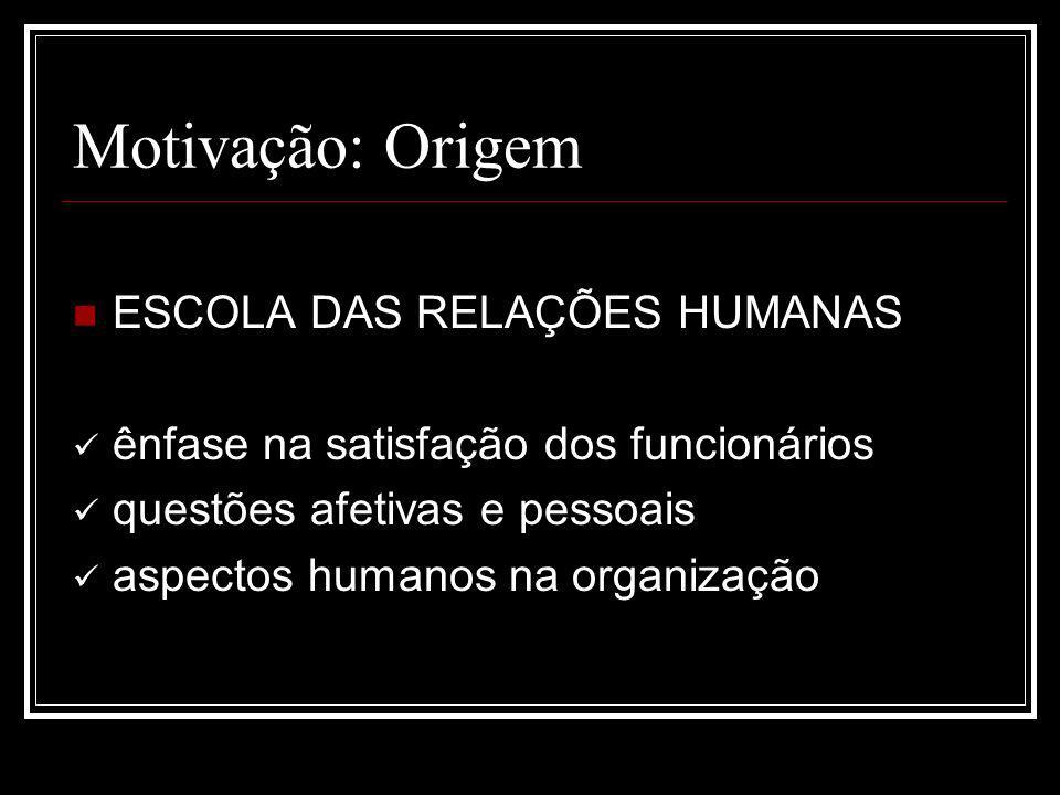 Motivação: Origem ESCOLA DAS RELAÇÕES HUMANAS ênfase na satisfação dos funcionários questões afetivas e pessoais aspectos humanos na organização