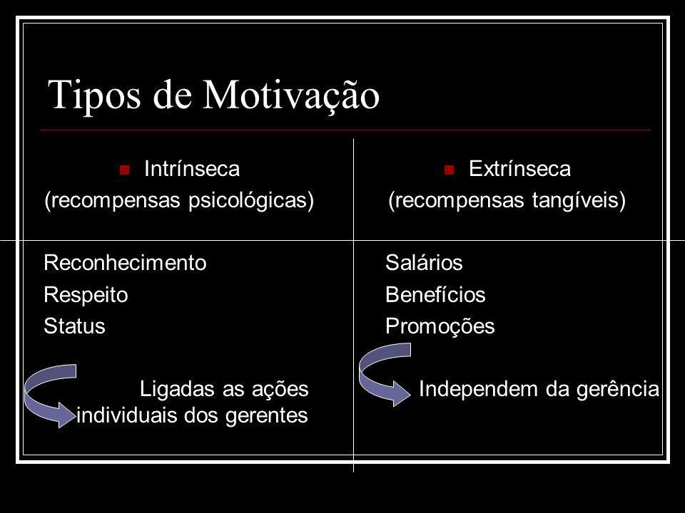 Tipos de Motivação Intrínseca (recompensas psicológicas) Reconhecimento Respeito Status Ligadas as ações individuais dos gerentes Extrínseca (recompen