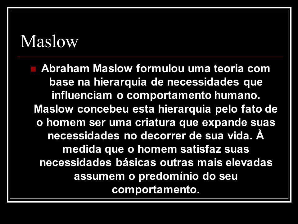 Maslow Abraham Maslow formulou uma teoria com base na hierarquia de necessidades que influenciam o comportamento humano. Maslow concebeu esta hierarqu