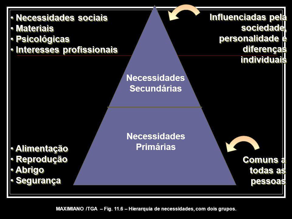 Necessidades Secundárias Necessidades Primárias Necessidades sociais Materiais Psicológicas Interesses profissionais Necessidades sociais Materiais Ps
