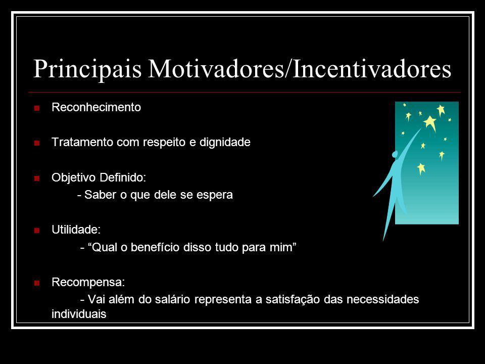 Principais Motivadores/Incentivadores Reconhecimento Tratamento com respeito e dignidade Objetivo Definido: - Saber o que dele se espera Utilidade: -