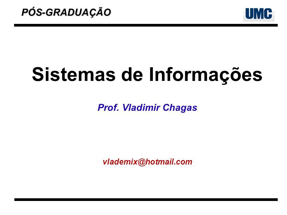 Sistemas de Informações 2 Vladimir Chagas Graduado em Administração de Empresas – UniSant´anna Especialização em Análise de Sistemas – Escola Técnica Federal de São Paulo MBA em Gestão de Tecnologia da Informação - FIAP.