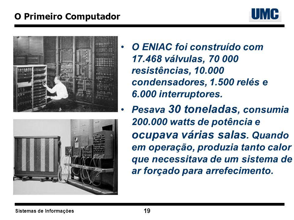 Sistemas de Informações 19 O ENIAC foi construído com 17.468 válvulas, 70 000 resistências, 10.000 condensadores, 1.500 relés e 6.000 interruptores. P