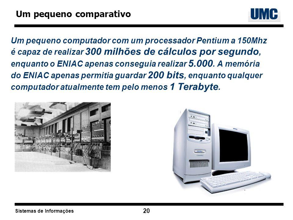Sistemas de Informações 20 Um pequeno computador com um processador Pentium a 150Mhz é capaz de realizar 300 milhões de cálculos por segundo, enquanto