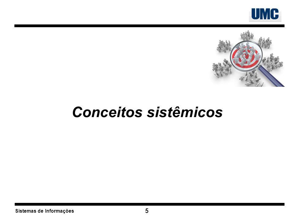Sistemas de Informações 6 Modelo genérico de sistemas Entrada Processame nto Saída Armazenamento Ambiente Teoria Geral de Sistemas (Bertalanffy, 1968)