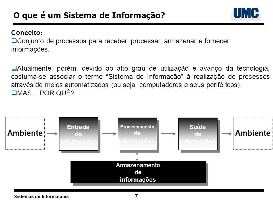 Sistemas de Informações 7 O que é um Sistema de Informação? Conceito : Conjunto de processos para receber, processar, armazenar e fornecer informações