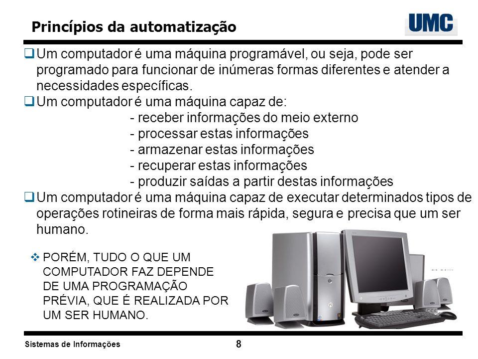 Sistemas de Informações 8 Princípios da automatização Um computador é uma máquina programável, ou seja, pode ser programado para funcionar de inúmeras