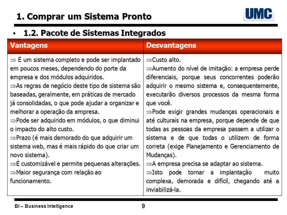 BI – Business Intelligence 10 2.Desenvolver um Novo Sistema 2.1.