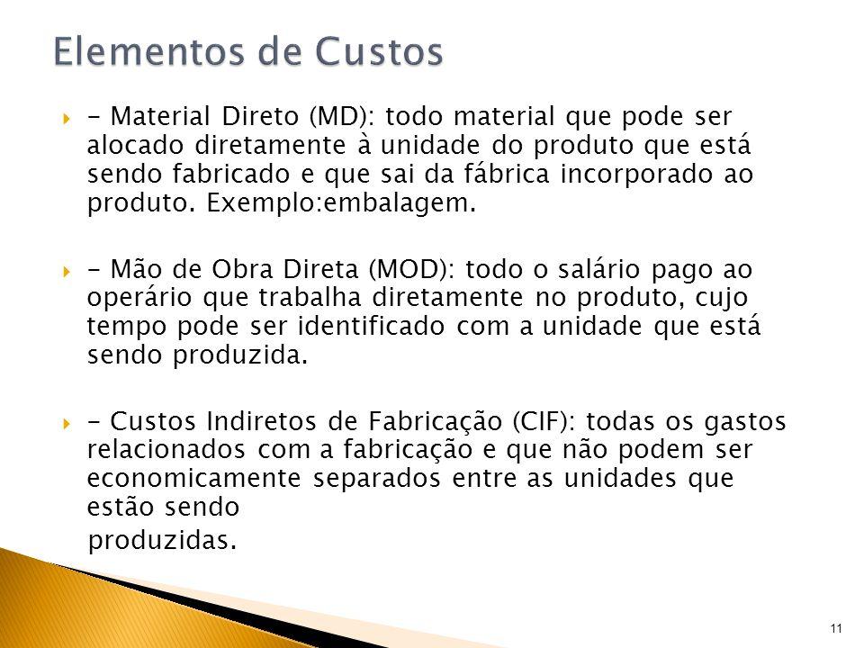 - Material Direto (MD): todo material que pode ser alocado diretamente à unidade do produto que está sendo fabricado e que sai da fábrica incorporado