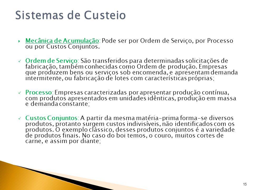 Mecânica de Acumulação: Pode ser por Ordem de Serviço, por Processo ou por Custos Conjuntos. Ordem de Serviço: São transferidos para determinadas soli