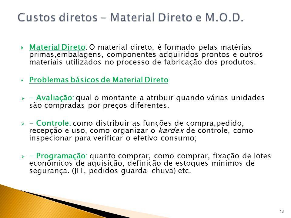 Material Direto: O material direto, é formado pelas matérias primas,embalagens, componentes adquiridos prontos e outros materiais utilizados no proces