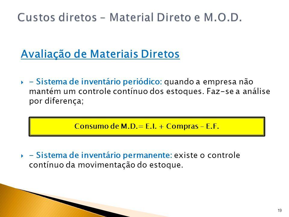19 Avaliação de Materiais Diretos - Sistema de inventário periódico: quando a empresa não mantém um controle contínuo dos estoques. Faz-se a análise p
