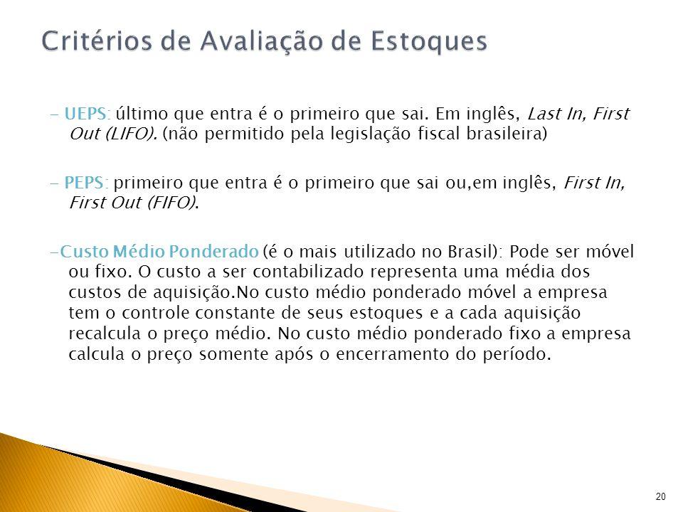 - UEPS: último que entra é o primeiro que sai. Em inglês, Last In, First Out (LIFO). (não permitido pela legislação fiscal brasileira) - PEPS: primeir