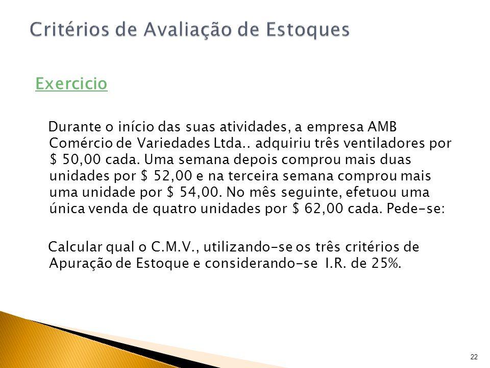 Exercicio Durante o início das suas atividades, a empresa AMB Comércio de Variedades Ltda.. adquiriu três ventiladores por $ 50,00 cada. Uma semana de