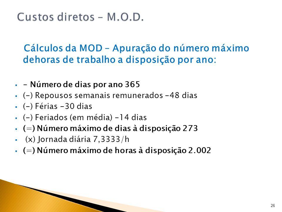 Cálculos da MOD – Apuração do número máximo dehoras de trabalho a disposição por ano: - Número de dias por ano 365 (-) Repousos semanais remunerados -