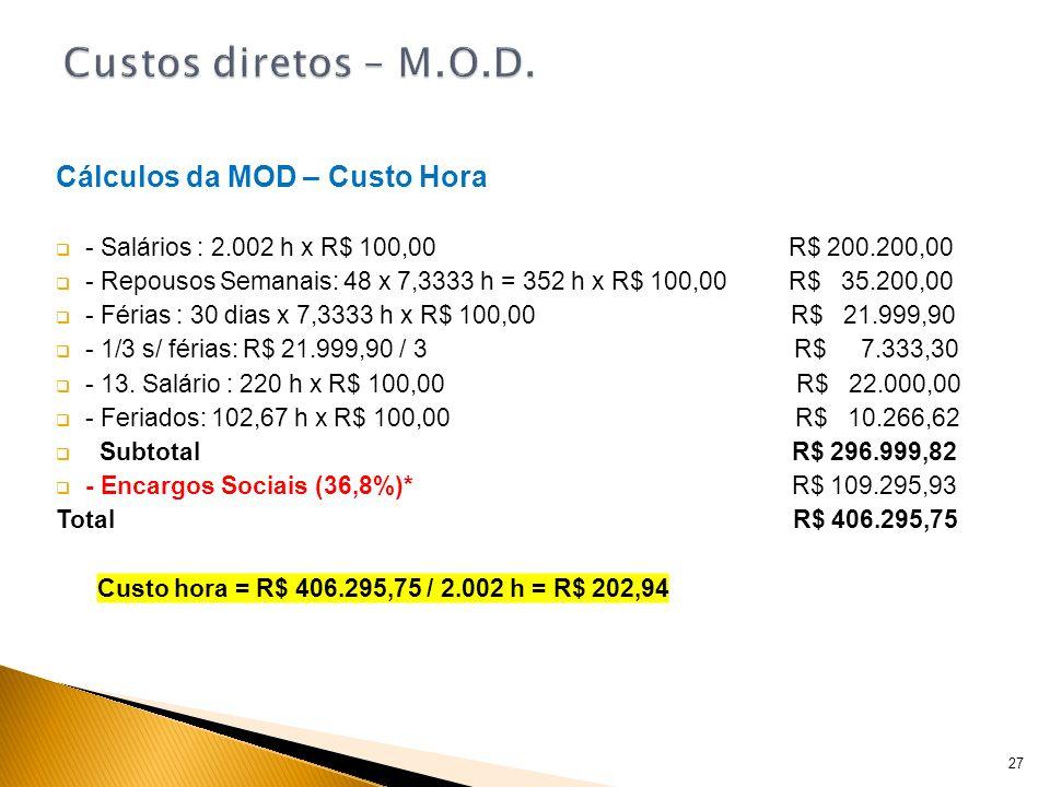 Cálculos da MOD – Custo Hora - Salários : 2.002 h x R$ 100,00 R$ 200.200,00 - Repousos Semanais: 48 x 7,3333 h = 352 h x R$ 100,00 R$ 35.200,00 - Féri