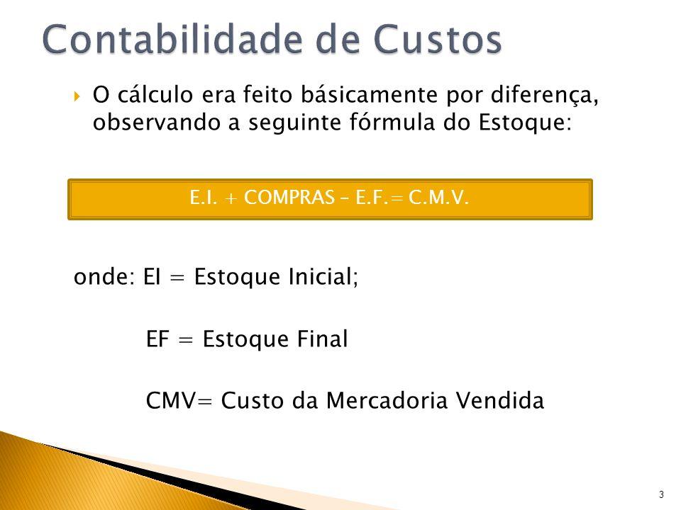 O cálculo era feito básicamente por diferença, observando a seguinte fórmula do Estoque: onde: EI = Estoque Inicial; EF = Estoque Final CMV= Custo da