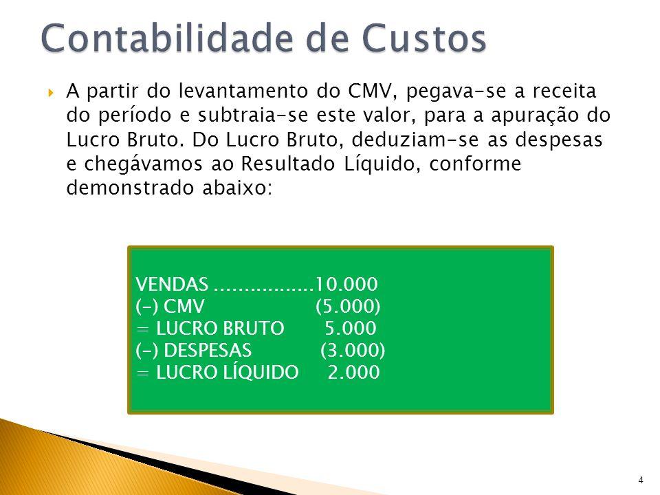 A partir do levantamento do CMV, pegava-se a receita do período e subtraia-se este valor, para a apuração do Lucro Bruto. Do Lucro Bruto, deduziam-se