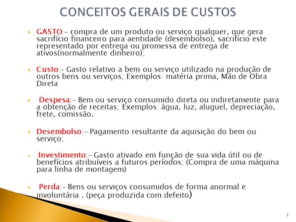 GASTO - compra de um produto ou serviço qualquer, que gera sacrifício financeiro para aentidade (desembolso), sacrifício este representado por entrega