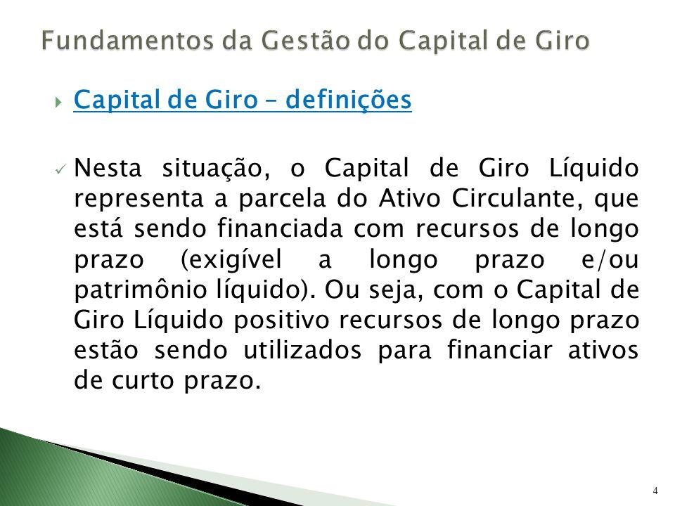 Capital de Giro – definições Por outro lado, quando o Ativo Circulante é menor que o Passivo Circulante, a empresa possui Capital de Giro Líquido Negativo, indicando déficit de Ativos Circulantes para honrar os Passivos Circulantes.