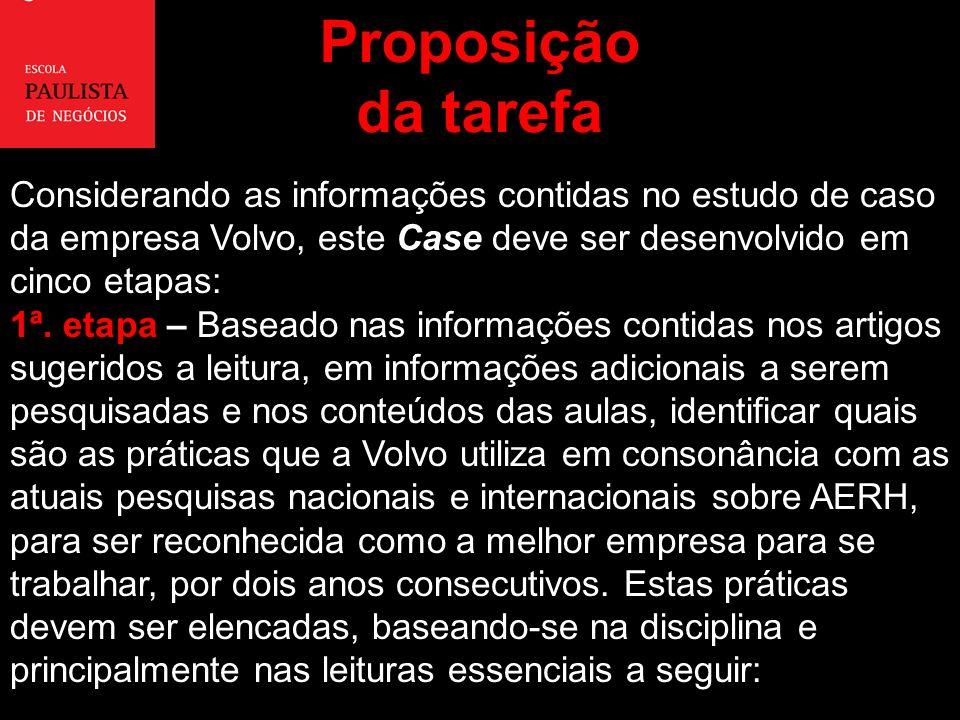 Proposição da tarefa Considerando as informações contidas no estudo de caso da empresa Volvo, este Case deve ser desenvolvido em cinco etapas: 1ª. eta