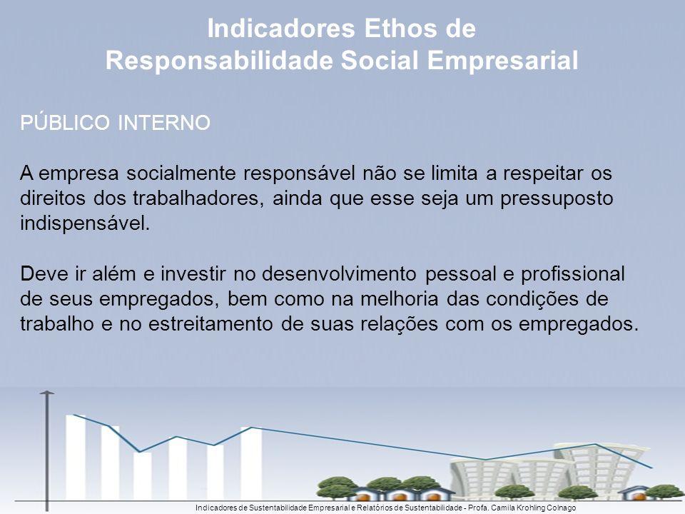Indicadores de Sustentabilidade Empresarial e Relatórios de Sustentabilidade - Profa. Camila Krohling Colnago PÚBLICO INTERNO A empresa socialmente re