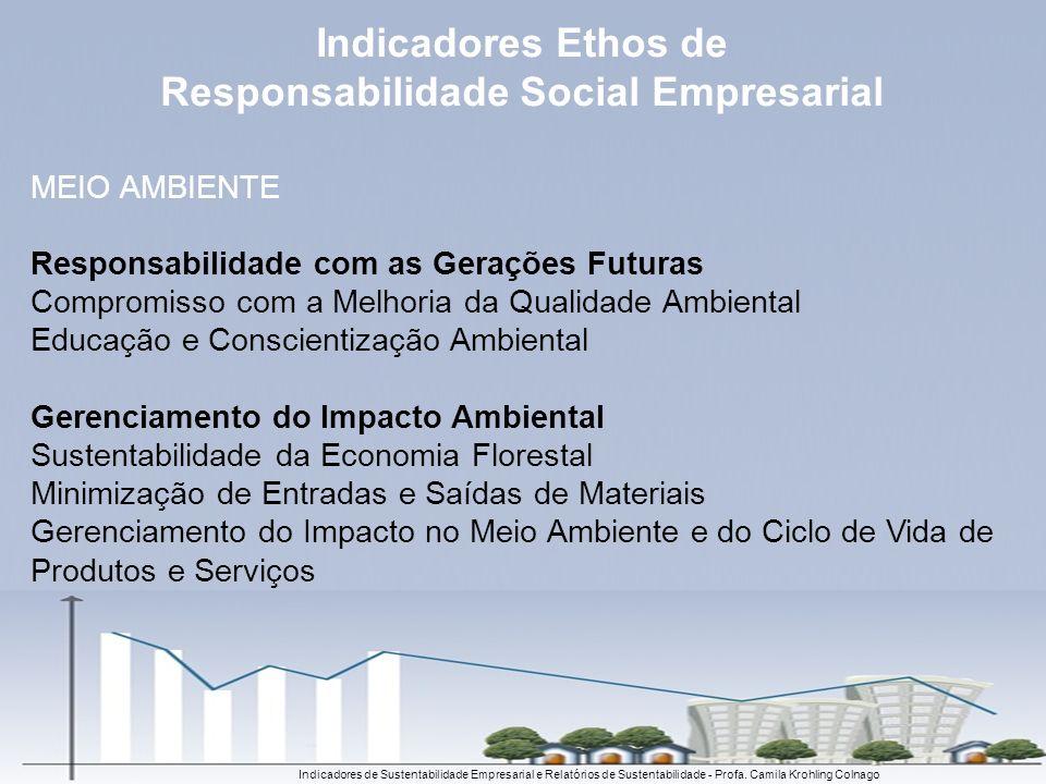 Indicadores de Sustentabilidade Empresarial e Relatórios de Sustentabilidade - Profa. Camila Krohling Colnago MEIO AMBIENTE Responsabilidade com as Ge