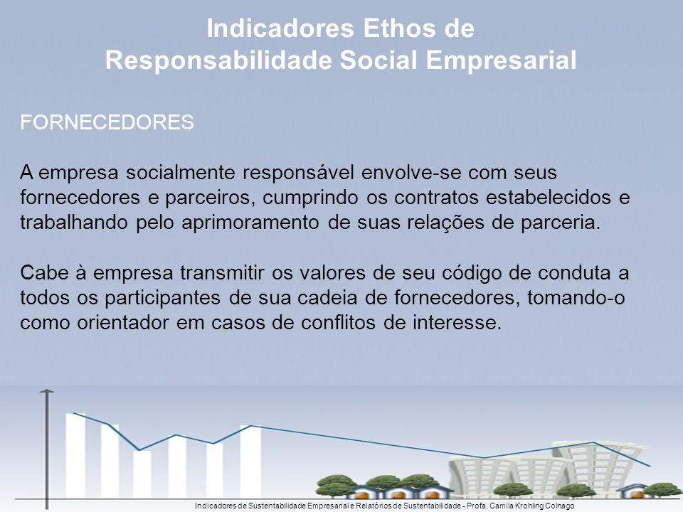 Indicadores de Sustentabilidade Empresarial e Relatórios de Sustentabilidade - Profa. Camila Krohling Colnago FORNECEDORES A empresa socialmente respo