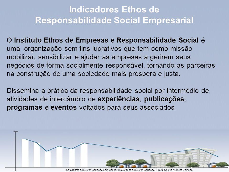 Indicadores de Sustentabilidade Empresarial e Relatórios de Sustentabilidade - Profa. Camila Krohling Colnago O Instituto Ethos de Empresas e Responsa