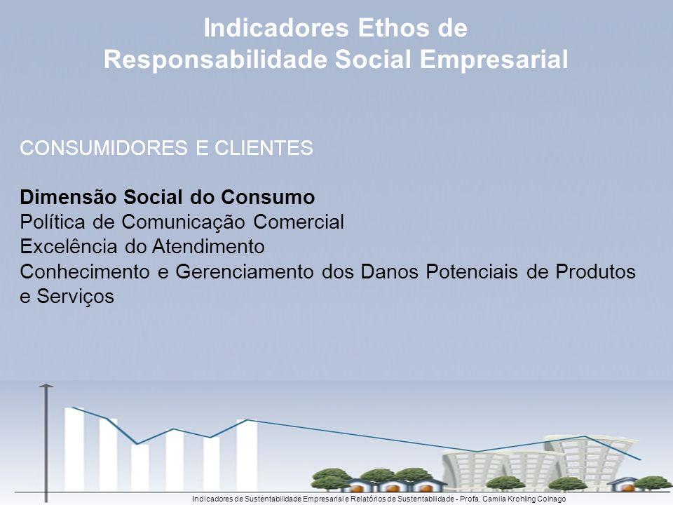 Indicadores de Sustentabilidade Empresarial e Relatórios de Sustentabilidade - Profa. Camila Krohling Colnago CONSUMIDORES E CLIENTES Dimensão Social