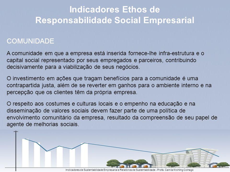 Indicadores de Sustentabilidade Empresarial e Relatórios de Sustentabilidade - Profa. Camila Krohling Colnago COMUNIDADE A comunidade em que a empresa