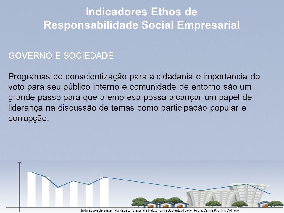 Indicadores de Sustentabilidade Empresarial e Relatórios de Sustentabilidade - Profa. Camila Krohling Colnago GOVERNO E SOCIEDADE Programas de conscie