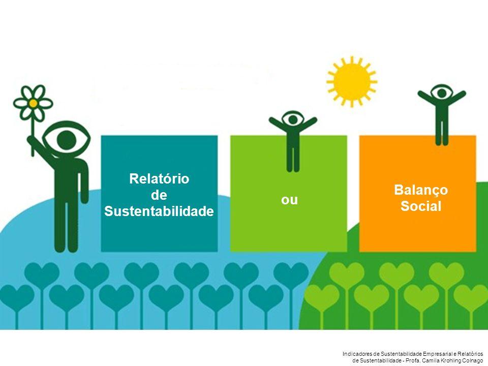 Indicadores de Sustentabilidade Empresarial e Relatórios de Sustentabilidade - Profa. Camila Krohling Colnago Balanço Social ou Relatório de Sustentab