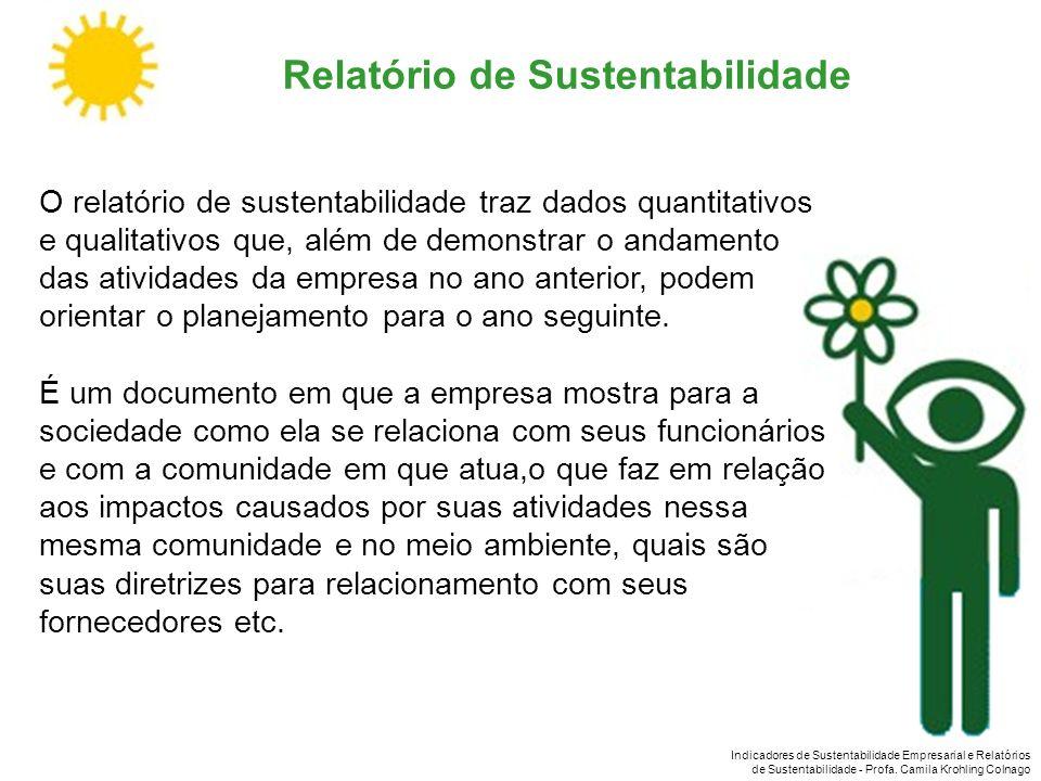 Indicadores de Sustentabilidade Empresarial e Relatórios de Sustentabilidade - Profa. Camila Krohling Colnago O relatório de sustentabilidade traz dad