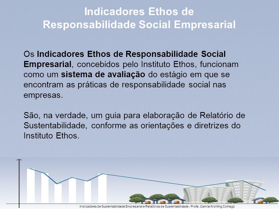 Os Indicadores Ethos de Responsabilidade Social Empresarial, concebidos pelo Instituto Ethos, funcionam como um sistema de avaliação do estágio em que