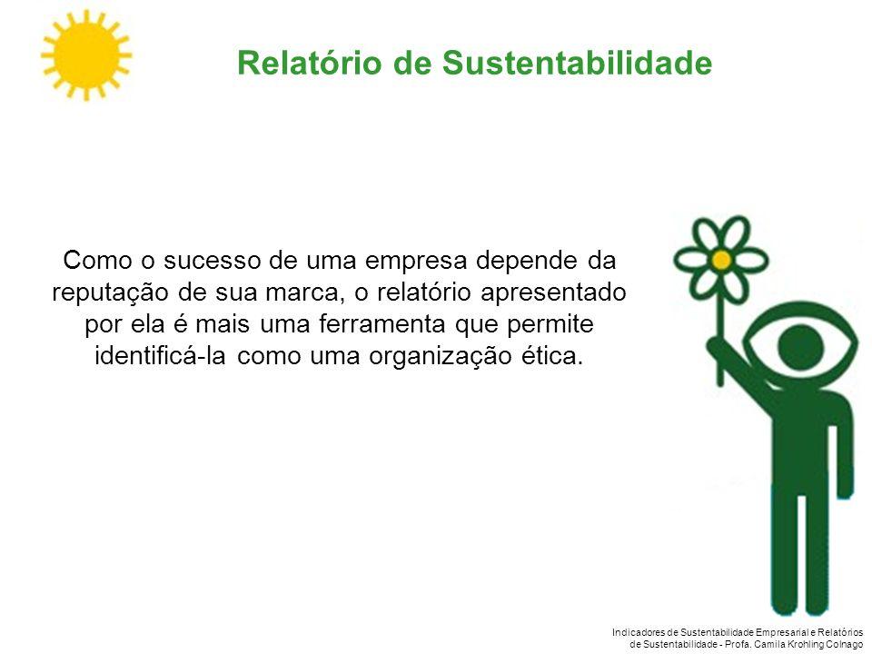 Indicadores de Sustentabilidade Empresarial e Relatórios de Sustentabilidade - Profa. Camila Krohling Colnago Relatório de Sustentabilidade Como o suc