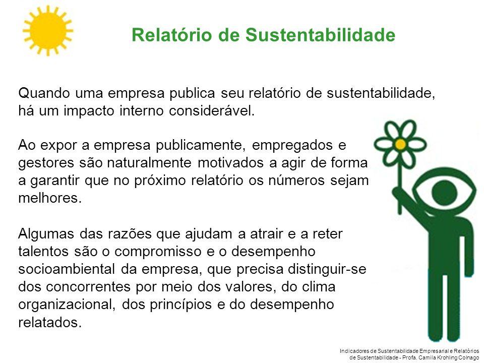 Indicadores de Sustentabilidade Empresarial e Relatórios de Sustentabilidade - Profa. Camila Krohling Colnago Quando uma empresa publica seu relatório