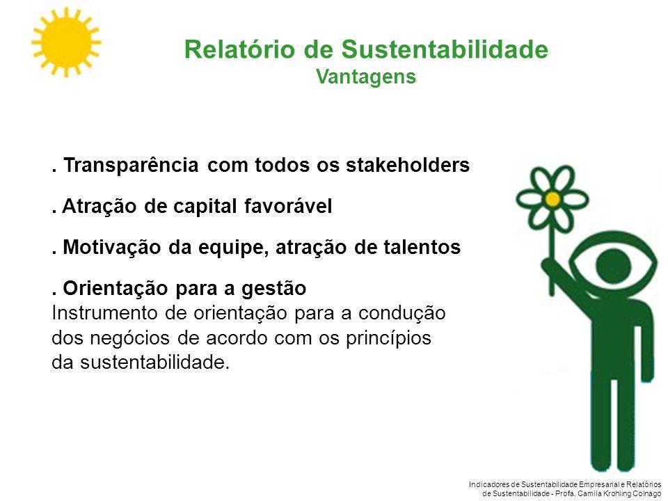 Indicadores de Sustentabilidade Empresarial e Relatórios de Sustentabilidade - Profa. Camila Krohling Colnago Relatório de Sustentabilidade Vantagens.