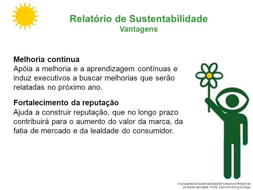 Indicadores de Sustentabilidade Empresarial e Relatórios de Sustentabilidade - Profa. Camila Krohling Colnago Relatório de Sustentabilidade Vantagens