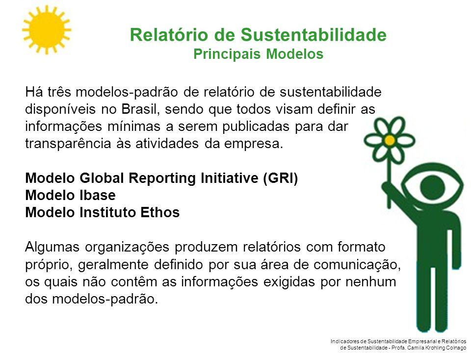 Indicadores de Sustentabilidade Empresarial e Relatórios de Sustentabilidade - Profa. Camila Krohling Colnago Relatório de Sustentabilidade Principais