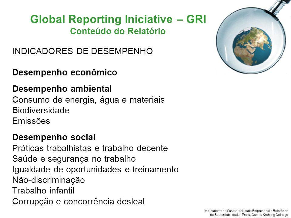 Indicadores de Sustentabilidade Empresarial e Relatórios de Sustentabilidade - Profa. Camila Krohling Colnago Global Reporting Iniciative – GRI Conteú
