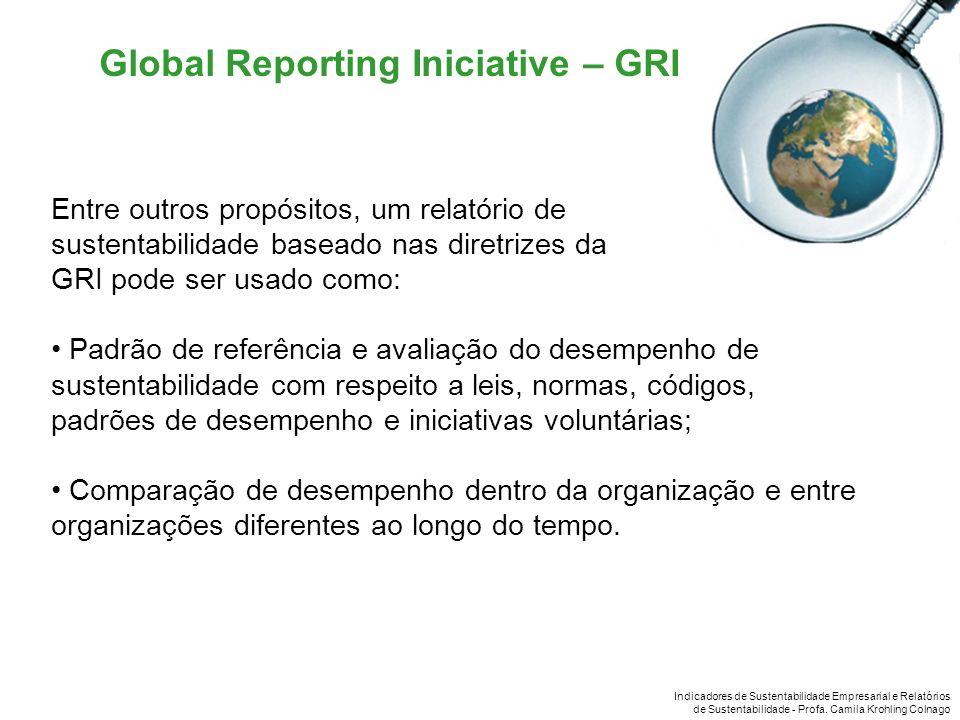Indicadores de Sustentabilidade Empresarial e Relatórios de Sustentabilidade - Profa. Camila Krohling Colnago Global Reporting Iniciative – GRI Entre