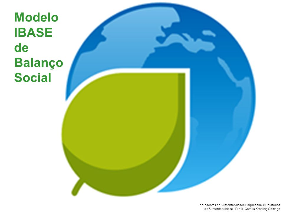 Indicadores de Sustentabilidade Empresarial e Relatórios de Sustentabilidade - Profa. Camila Krohling Colnago Modelo IBASE de Balanço Social